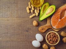 Ketogenic low carbs diet concept. Healthy eating and dieting with salmon fish, avocado, eggs and nuts. Top view Royalty Free Stock Images