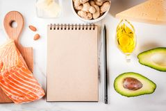 Ketogenic low carbs diet ingredients. Ketogenic low carbs diet concept. Healthy balanced food with high content of healthy fats. Diet for the heart and blood stock photos