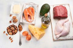 Ketogenic low carbs diet. Healthy eating food stock photos