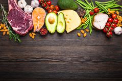 Keto diet foods. Ketogenic low carbs ingredients for healthy weight loss diet, top view, copy space. Keto foods on wooden background: meat, fish, avocado, cheese stock image