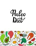 Ketogenic nutrition. Paleo diet banner with organic vegetables, nuts and other healthy foods. Low carb dieting. Keto. Meal protein and fat vector illustration