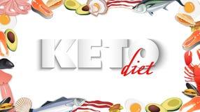 Keton-Diätfrucht stoppen Ketogenic Bewegung vektor lizenzfreie stockbilder