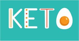 Keton Flache Illustration des Vektors mit Handbeschriftung Verzierte Buchstaben und eine H?lfte eines hart gesotten Eies auf blau lizenzfreie abbildung