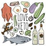 Keton-GESCHÄFT gesunde Nahrungsmittelkohlenhydratarmer neuer Vektor-Illustrations-Satz vektor abbildung