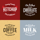 Ketschup, Schokolade, Kaffee, Milchvektor-Logosatz Retrostilembleme Lizenzfreies Stockfoto