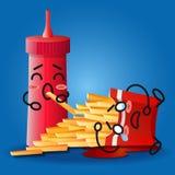 Ketschup und schreiende Karikatur auf gebratenem Kartoffelkasten vektor abbildung