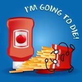 Ketschup und schreiende Karikatur auf gebratenem Kartoffelkasten lizenzfreie abbildung