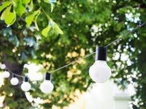 Kette von Glühlampen Geburtstags- oder Sommergartenfestdekoration Moderner unscharfer Hintergrund mit bokeh Lichtern und Stockfotos