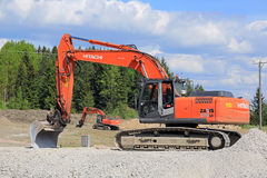 Kettenbagger Hitachi-Zaxis-280LC an der Baustelle Stockbild