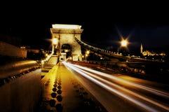Kettenbrücke nachts Budapest lizenzfreies stockfoto