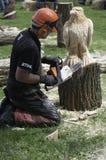 Kettensägenholz, das eine Adlerskulptur im Holz schnitzt Stockfotos