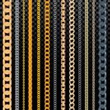 Kettenvektormuster goldenes chainlet in der Linie oder im metallischen Link des Schmuckillustrationssatzes des Ankettens der Schn vektor abbildung