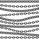Kettenvektormuster Schwarzes Schattenbild auf weißem Hintergrund Lizenzfreie Stockfotos
