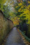 Kettering in Northamptonshire UK. An Autumnal view of a walkway in the town of Kettering in Northamptonshire, UK stock photography