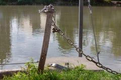 ketting en slot bij zonnige rivieroever royalty-vrije stock fotografie