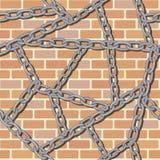 Ketting op bakstenen muur naadloze achtergrond Stock Foto