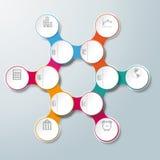 Ketting 6 van de cirkel Hexagon Molecule Opties stock illustratie