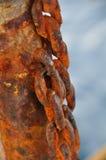 Ketting van velen roest, Oud Rusty Naval Chain wordt beschadigd dat Stock Foto's