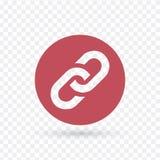 Ketting, verbindings vlak rood pictogram in cirkel vectordieillustratie op transparante achtergrond wordt geïsoleerd royalty-vrije illustratie