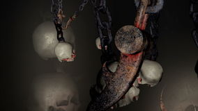 Kettingen met schedels en haken stock videobeelden