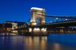 Kettingsbrug in Boedapest, Hongarije Royalty-vrije Stock Foto