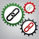 Kettingsteken Vector Drie verbonden toestellen met pictogrammen bij grijsachtig royalty-vrije illustratie