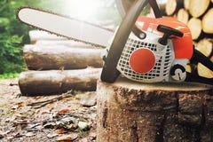 Kettingzaag op een boomboomstam royalty-vrije stock foto's
