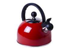 Kettle. A red kettle over a white background Royalty Free Stock Images