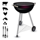 Kettle barbecue grill. Isolated on white background. Vector illustration Royalty Free Stock Photography