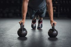 Kettle bell push up stock photography