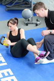 Kettle bell weight stretch Stock Photos