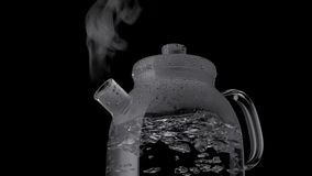 Kettle with boiling water and steam isolated on black background royalty free stock photo