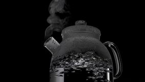 Kettle with boiling water and steam isolated on black background royalty free stock images
