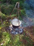 Kettle on campfire 3 Royalty Free Stock Photography