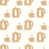 A kettle and a cup. Seamless Background. A kettle and a cup. Vector Seamless Background Stock Photo