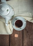 Kettle with cup on table. Drink tea Stock Photography