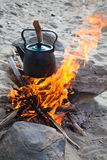 Kettle on the fire Stock Photo