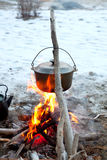Kettle on the fire Stock Photos