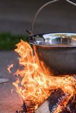 Kettle on the fire , cooking in the nature Stock Photo
