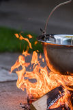 Kettle on the fire , cooking in the nature Stock Photography