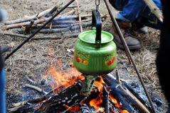 Kettle on fire Stock Images
