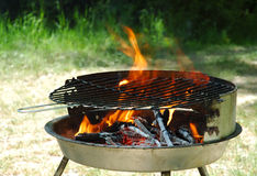 Kettle grill. Hot kettle grill ready to barbecue Stock Image