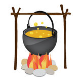 Kettle hanging over fire Royalty Free Stock Image