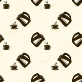 Kettle and hot cup pattern. Seamless Background. Kettle and hot cup pattern. Vector Seamless Background Royalty Free Stock Photography