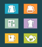 Kettle icons set Stock Image