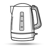 Kettle in line art style. Illustration on isolated background. Kettle in line art style. Illustration on isolated white background Royalty Free Stock Photography