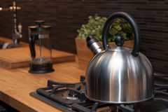 Kettle in modern kitchen Stock Photography