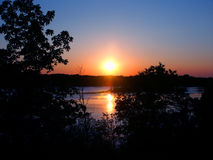Kettle Moraine Wisconsin Sunset. Sunset over Rice Lake in the Kettle Moraine State Forest of Wisconsin stock photography