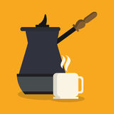 Kettle and mug of coffee shop design. Kettle and mug icon. Coffee shop drink and beverage theme. Colorful design. Vector illustration Royalty Free Stock Photos