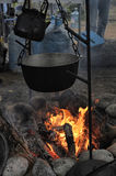 Kettle and pot on the fire. In the campaign Stock Images